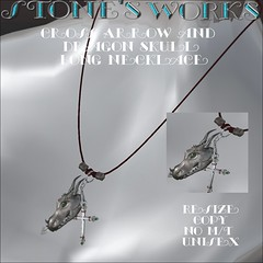 Dragon Skull Long Necklace Stone's Works (darkstoneaeon2) Tags: stonesworks secondlife avatar fashion fantasy dragon gift lovecraft necklace skull