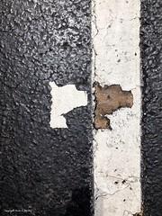 Pavement Puzzle (Little Hand Images) Tags: pavement line paint peel shape parkingspace abstract negativespace blackandwhite asphalt