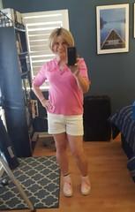 Rocking white shorts (krislagreen) Tags: tg transgender cd crossdresser shortshorts white pink patent femme feminization feminized blond