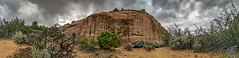 Low Angle Panorama, 2015.07.14 (Aaron Glenn Campbell) Tags: coloradonationalmonument nps nationalparkservice nationalmonument mesacounty colorado rimrockdrive outdoors roadtrip vacation rental car vehicle toyotacamry summer sky clouds overcast gloomy landscape panorama 6xp photomerge sony a6000 ilce6000 mirrorless zeiss nikcollection colorefexpro viveza fruita rokinon 12mmf2ncscs wideangle primelens manualfocus emount