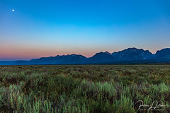 Full Moon And The Beginning Of Sunrise Over The Tetons (rebeccalatsonphotography) Tags: sunrise moon fullmoon mountains sage grandteton np nationalpark wy wyoming landscape canon morning rebeccalatsonphotography