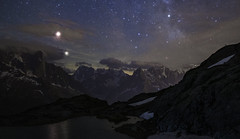 Bouquetin watching the eclipse over the Alps (clement clement) Tags: mountain eclipse moon lune alpes alps ice snow alpinists alpinism light flash astronomy astronomie low long exposure bouquetin wild goat alpin ibex horn mars saturn sagittarius planets science landscape scape night chamonix aiguilles rouges massif montblanc mont blanc lac lake
