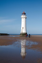 Reflections of New Brighton lighthouse (Siyah Kedi Photography) Tags: newbrighton wirrel perchrock lighthouse sky sea sand reflection beach rocks people