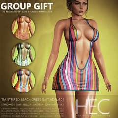 HEC (teleporthub.com GROUP GIFT) • TIA Striped Beach Mini-Dress GIFT ADFL-101 (hec-fashion) Tags: hec hotelegantclothing hot elegant clothing mesh fitmesh fashion sl secondlife dress mini belleza maitreya slink ebody summer striped beach teleporthub gift
