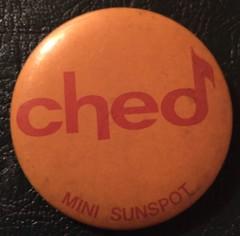 EDMONTON, 630 CHED RADIO ---1970'S MINI SUNSPOT, PINBACK BUTTON (woody1778a) Tags: edmonton history pinback button alberta canada albertahistory