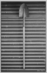 Simple B&W (Bear Dale) Tags: simple bw shovel hanging corrugated iron wall monochrome monopod country ulladulla south coast new wales shoalhaven australia nikon d850 nikkor afs 70200mm f28e fl ed vr dale lake conjola rust steel wood handle beardale fotoworx lakeconjola southcoast framed monocromo negroywhithe noiretblanc photo photograph groups group flickr