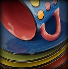 stacked (quietpurplehaze07) Tags: multicolour macromondays saucers coffeecup