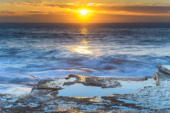 Suns Path Seascape (Merrillie) Tags: daybreak theskillion nature water terrigal nsw rocky sea clouds newsouthwales rocks earlymorning morning landscape centralcoast ocean australia sunrise waterscape coastal outdoors sky seascape dawn coast cloudy waves