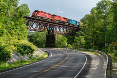 The Cuttingsville Trestle (sullivan1985) Tags: train railway newengland vtr vermontrailway freight freighttrain railroad emd locomotive gp382 sd70m2 vtr431 gmtx2215 bridge cuttingsville vt vermont cpl204 clarendonpittsfordrailroad