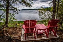 Claire Fontaine Trail and the much loved Canada National Parks Red Chairs (Brett of Binnshire) Tags: chair hdr ocean water lrhdr bay nationalpark locationrecorded newbrunswick lightroomhdr kouchibouguacnationalpark canada highdynamicrange manipulations canadiannationalparksredchairs furniture kouchibouguac