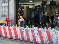 Gestating Beer Train (Magic Pea) Tags: streetphotography street streetphoto unposed candid photo photography magicpea london farringdon station clerkenwell woman pregnant