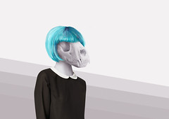 Canicule (CCassese) Tags: skull fashion bluehair jain colclaudine hybrid chimère monster naturemorte animals photoshop wacom artis lowbrow pop surealism