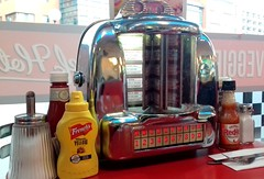 Jukebox in Ed's Diner, Birmingham (Tony Worrall) Tags: birmingham inside diner eats american cafe restaurant midlands uk england jukebox music americana machine musical mustard bottle sauce table edsdiner eat foodie update place location north visit area attraction open stream tour country item greatbritain britain english british gb capture buy stock sell sale outside outdoors caught photo shoot shot picture captured