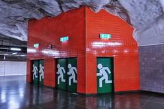 Universitetet (Douguerreotype) Tags: sverige door red underground urban green sweden stockholm tbana city architecture tunnelbana subway metro tube tunnel station