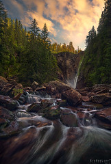 Down below (Ron Jansen - EyeSeeLight Photography) Tags: flesberg buskerud norway summer midges midge mosquito waterfall canyon high steep stone creek water rocks trees tree depth wideangle mood