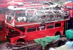 London transport RM1368 fire damaged  circa 1974. (Ledlon89) Tags: bus buses london transport lt lte lptb londonbus londonbuses londontransport vintagebuses weybridge brooklands londonbusmuseum