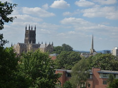 Fort Royal Park, Worcester - Worcester Cathedral and the spire of St Andrew's Church