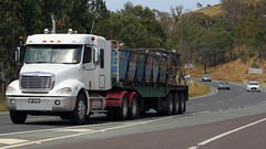 Federal Highway Flyers (3/4) (Jungle Jack Movements (ferroequinologist)) Tags: canberra act australian capital territory federal highway moloney gippsland victoria kenworth sims metal freightliner vv 45iu baugh hilltop nsw cope hp horsepower big rig haul haulage freight cabover trucker drive transport carry delivery bulk lorry hgv wagon road nose semi trailer deliver cargo interstate articulated vehicle load freighter ship move roll motor engine power teamster truck tractor prime mover diesel injected driver cab cabin loud rumble beast wheel exhaust double b grunt