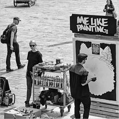 Me like painting (John Riper) Tags: johnriper street photography straatfotografie rotterdam square bw black white zwartwit mono monochrome netherlands candid john riper canon 6d 24105 l artists painters people sunny paint liquitex radio