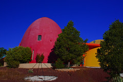 Space Force Planetary Headquarters, 2009 Sedona Arizona (oybay©) Tags: sedona arizona dome domehome home color colors outrageous colorful bright different rbuckminsterfuller architecture design spaceforce spacefarce space domeiswheretheheartis trees round oval xanadu