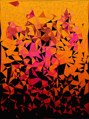 Origami (Susan Maxwell Schmidt) Tags: origami japanese surreal surrealism paperfolding triangular prismatic abstract geometric susanmaxwellschmidt surrealorigami origamiabstract brightabstract triangulated triangle fractured shapes geometry shards shattered black coral rose fuchsia salmon pink orange yellow brown tan design contemporary postmodern modern expressionism asian minimalist minimalism geometrical industrial bright brilliant multicolor vibrant colorful magical mystical surrealist digital drawing painting illustration conceptual art