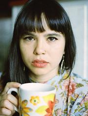 Have Another Cup... (lancekingphoto) Tags: model woman face closeup portrait coffee naturallight browneyes mug morning kodakportra800 35mm konicatcx hexanon50mmf14 unicolor findlay ohio deadpan