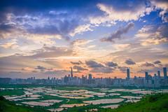 Sunset between HK and China (huxley0609) Tags: hong kong night city urban china shenzhen skylight nature 香港 深圳 自然 夜景 light 光 nikon landscape hongkong