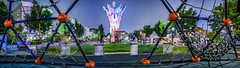 patricia's park playland panorama (pbo31) Tags: sanfrancisco california city urban night dark august summer 2018 boury pbo31 color art panoramic large stitched panorama sculpture led park play ground hayesvalley kids children playland jungle gym red blue fog depthoffield blur