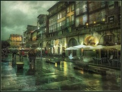 "from the series ""Walks in Portugal"". Rainy day in Porto. (odinvadim) Tags: mytravelgram iphoneart iphone iphoneography iphoneonly rain evening specialist snapseed portugal painterlymobileart sunset textures travel artist landscape textured"