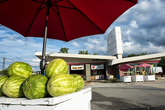 Summer (mukulsphotos) Tags: watermelons umbrella red sky gas station kensington maryland abandoned