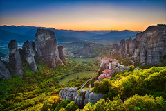 Meteora Panorama & Sunset (Luís Henrique Boucault) Tags: abbey adventure architecture autumn background beautiful christian church cliff cloister clouds colorful drone europe extreme grass greece greek heritage hiking holy idyllic kalampaka landmark landscape majestic meteora monastery mountain nature old orthodox panorama panoramic religion rock rocky scenic sky st summer sun sunrise sunset tourism tranquility travel valley view wild