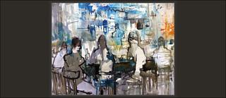 PERSONATGES-CAFETERIES-PINTURA-ART-MERCAT-LA BOQUERIA-BARCELONA-MERCATS-CATALUNYA-CAFETERIA-PERSONES-MOMENTS-VIDA-DETALLS-PINTURES-ARTISTA-PINTOR-ERNEST DESCALS--