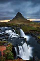 A magic place...a magic moment (FredConcha) Tags: kirkjufell fredconcha iceland landscape nature waterfall sunset nikond800 rocks mountain rochedos lee