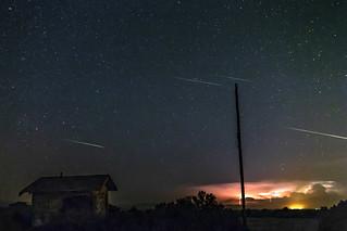 Perseid Meteors, Lightning, and Abandoned Bathroom