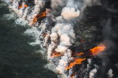 Forging New Land (Kurt Lawson) Tags: bigisland clouds glowing hawaii hot kapoho kilauea lava laze ocean oceanentry pacific puna rays smoke sunrise vog
