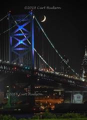 br_1093 (Curt Hudson) Tags: bridge camden philadelphia night moon skyline pa nj pennsylvania newjersey lights