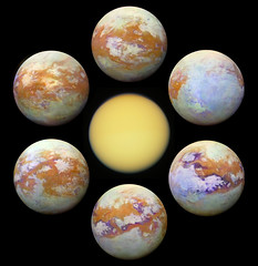Seeing Titan Shrouded in a thick atmosphere, Saturn's largest moon Titan really is hard to see. Small particles suspended in the upper atmosphere cause an almost impenetrable haze, strongly scattering light at visible wavelengths and hiding Titan's surfac (beautyaboveus) Tags: space astronomy science technology photography nasa apod