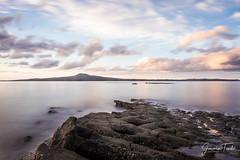 CURVE (Cor Lems) Tags: glow sea beach landscape winter stheliers pink ocean newzealand sunset seascape landscapes longexposure auckland rocks