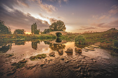 Sunset Stepping Stones (unciepaul) Tags: sunset sunday bridge leicestershire hoby river riverside stepping stones colours texture coppercloudsilvernsun longexposure wellies wet bum new lens 9mm laowa nisi filters tripod sonya6000 photography lightroom