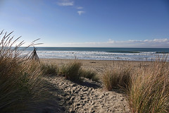 Just a peek..... (flying-leap) Tags: newzealand northcanterbury nz southisland beach pacificocean the4seasons clouds sky sea 4winter ocean winter pegasusbeach sand grasses sony sonydscrx10m4