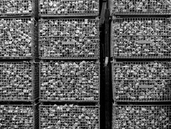 Caged (arbyreed) Tags: arbyreed monochrome bw blackandwhite cans food cage box foodbank