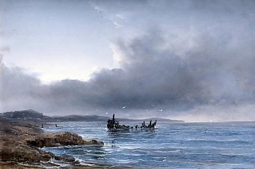 IMG_4145A Anton Melbye 1818-1875 Copenhague Hambourg... Paris Flat coast with the wreck of a fishing boat near Emkendorf at the bay of Hohwacht Côte plate avec l'épave d'un bateau de pêche près d'Eckendorf dans la baie de Hohwacht 1846 Copenhague Colle