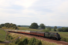 "60009 ""Union of South Africa"" - Waitby (Andrew Edkins) Tags: a4class unionofsouthafrica 60009 lner gresley waitby settleandcarlisleline settleandcarlislegoldenexpress class66 canon dbcargo cumbria mainlinesteam railtour excursion pacific august 2018 summer light geotagged railwayphotography photoshop travel trip pathfindertours"