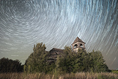 Star Trails over Elmira (tylerjacobs) Tags: sony a6000 sigma 16mm f14 long exposure illinois rural abandoned rustic nightsky night sky time stars astrophotography starry longexposure forgotten dilapidated derelict stark county elmira school house church bellhouse bell tower star trails