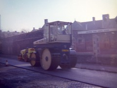 Ridgeway Road, Fishponds, Bristol, 1983 (The Digger-Man) Tags: wallis steevens roller fishponds bristol 1983 chesterpark school roadworks tarmac steamroller hobbs aveling barford
