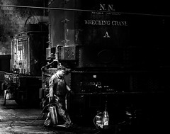 024693763643-103-Working on the Train-4-Black and White (Jim There's things half in shadow and in light) Tags: america ely nevada nevadanorthernrailwaymuseum southwest usa whitepinecounty history locomotive museum rail steam blackandwhite people train work