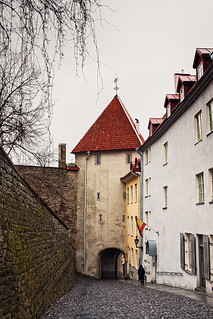 Steep Downhill Alley In The Old Town of Tallinn