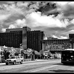 Dramatic Skies over Downtown in B&W thumbnail