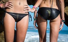 Pretty Blonde Hair Blue Eyes Surf Girl Twin Sisters Bikini Swimsuit Models on Malibu Beach!  Beautiful Gemini Twins Modeling Black 45SURF 45EPIC Gold 45 Revolver Bikinis! Tall, Thin, Fit, Athletic Fitness Models! Epic Photoshoot! (45SURF Hero's Odyssey Mythology Landscapes & Godde) Tags: thin fit