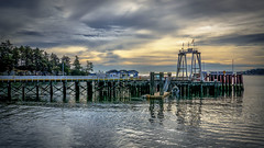 Sturdies Bay Terminal (Paul Rioux) Tags: scenic outdoor galiano island sturdies bay ferry terminal dock wharf pilings calm water reflections sunrise morning clouds bc prioux
